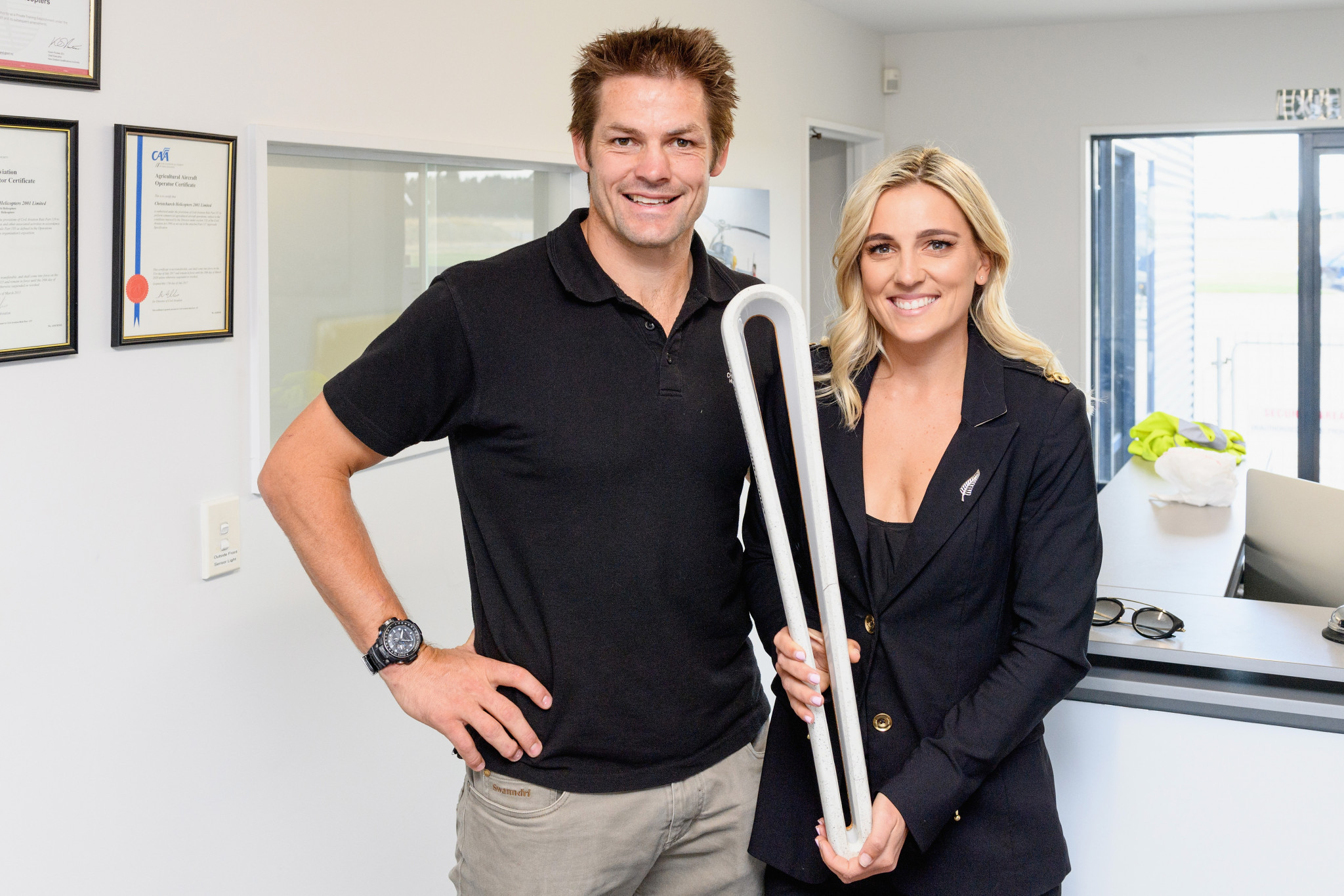 Richie and Gemma McCaw brought the Queen's Baton to Kaikoura ©NZOC