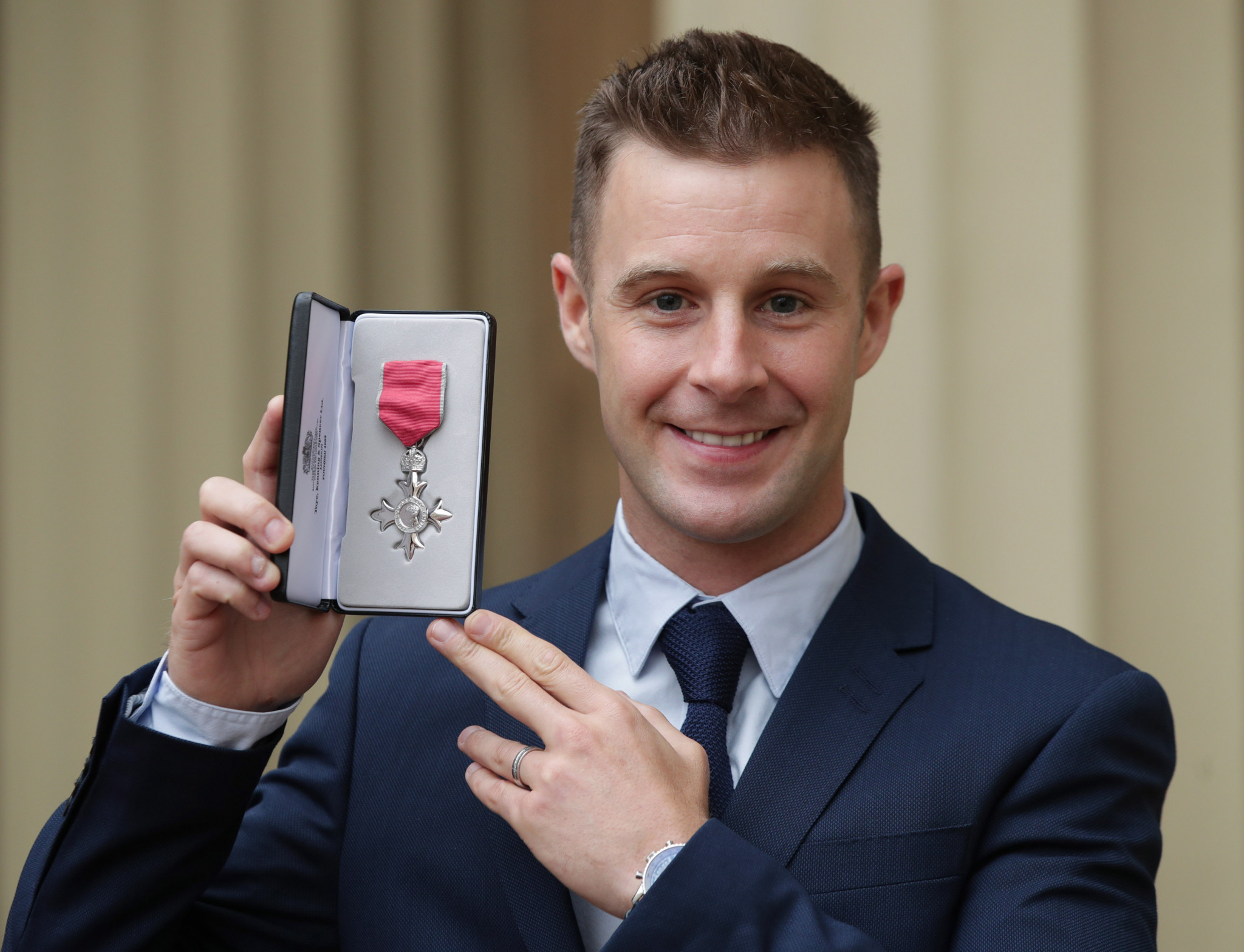 Superbike world champion Jonathan Rea. Who? Rea came a surprise second in the BBC poll and it wasn't his only success this year as he poses after being presented with an MBE by the Duke of Cambridge at Buckingham Palace last month ©Getty Images