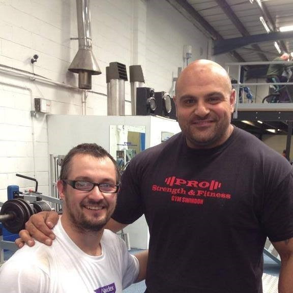 Gary Clarke, left, the organiser of the UK's first disabled strongman event, with two times winner of Britain's Strongest Man Laurence Shahlaei