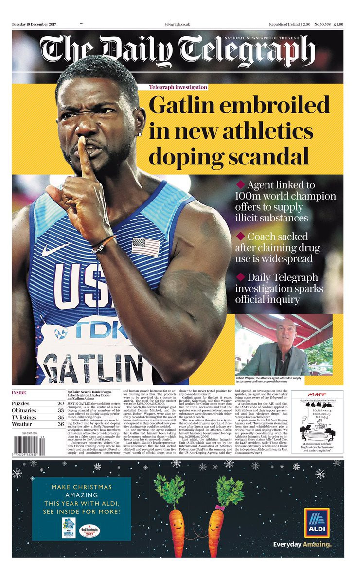 American sprinter Justin Gatlin has found himself embroiled in a new doping scandal following an undercover operation by British newspaper The Daily Telegraph ©The Daily Telegraph