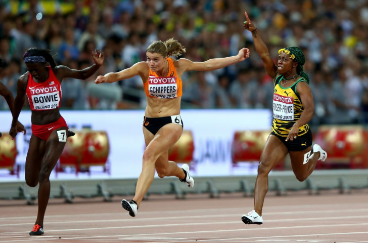 Shelly-Ann Fraser-Pryce retains her world 100m title ahead of silver medallist Dafne Schippers (centre) and bronze medallist Tori Bowie ©Getty Images