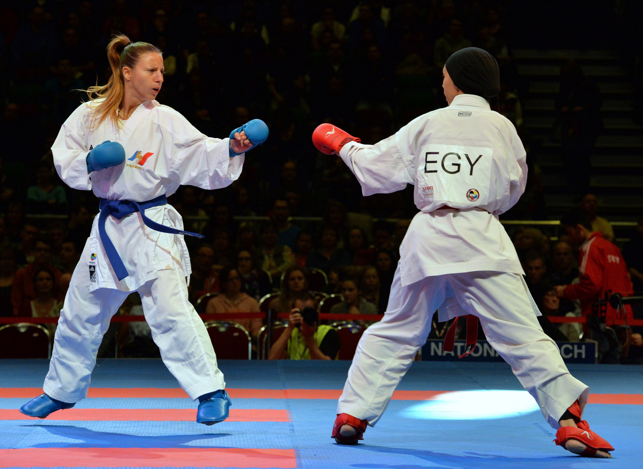 Alexandra Recchia, left, will represent hosts France at the first Karate 1-Premier League event of the 2018 season ©Getty Images