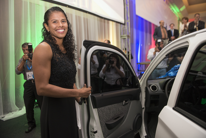 Sayra Laguna was given a car as part of her Best Athlete of the Year award ©FIAS