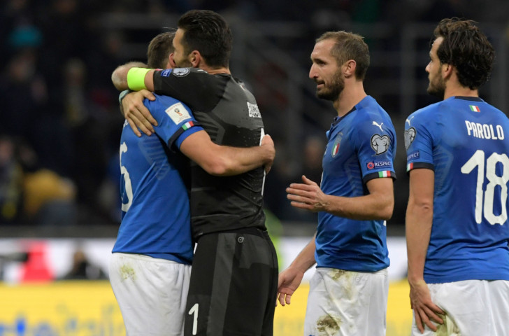 Italy's players, including the retiring keeper Gianluigi Buffon, react to their failure to reach the 2018 World Cup finals ©Getty Images