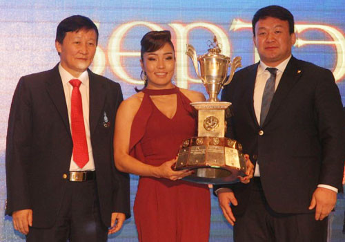 Judoka Sumiya Dorjsuren has been crowned the Mongolian National Olympic Committee's athlete of the year at the Burte Chono Sports Gala in Ulaanbaatar ©OCA