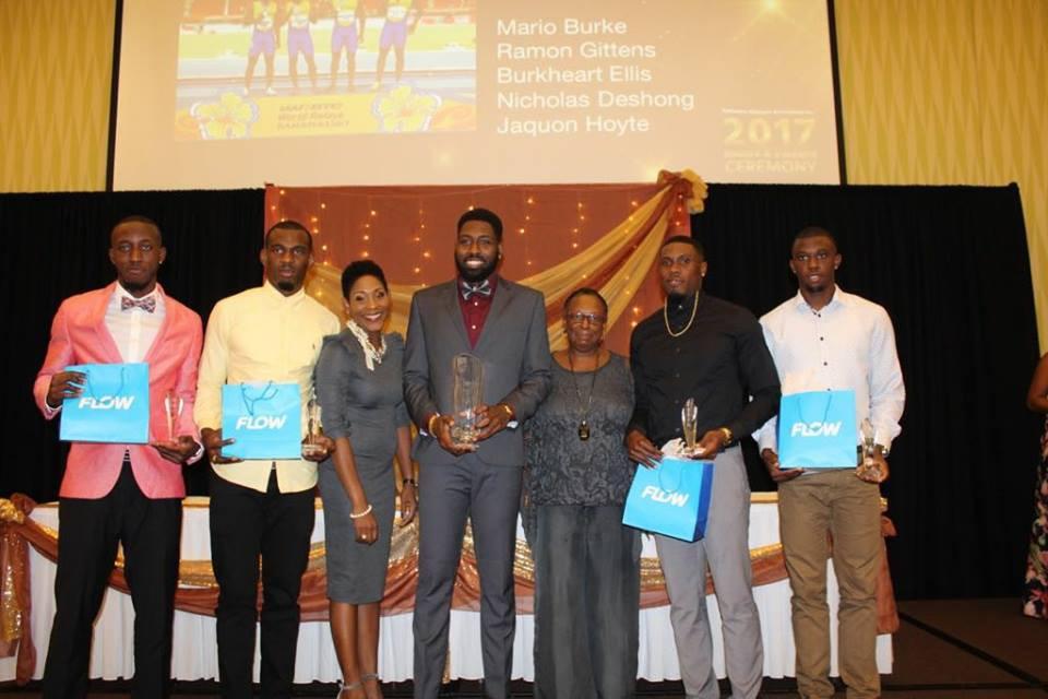 Relay runners Mario Burke, Nicholas Deshong, Burkheart Ellis, Ramon Gittens and Jaquon Hoyte received the male award ©BOA/Facebook