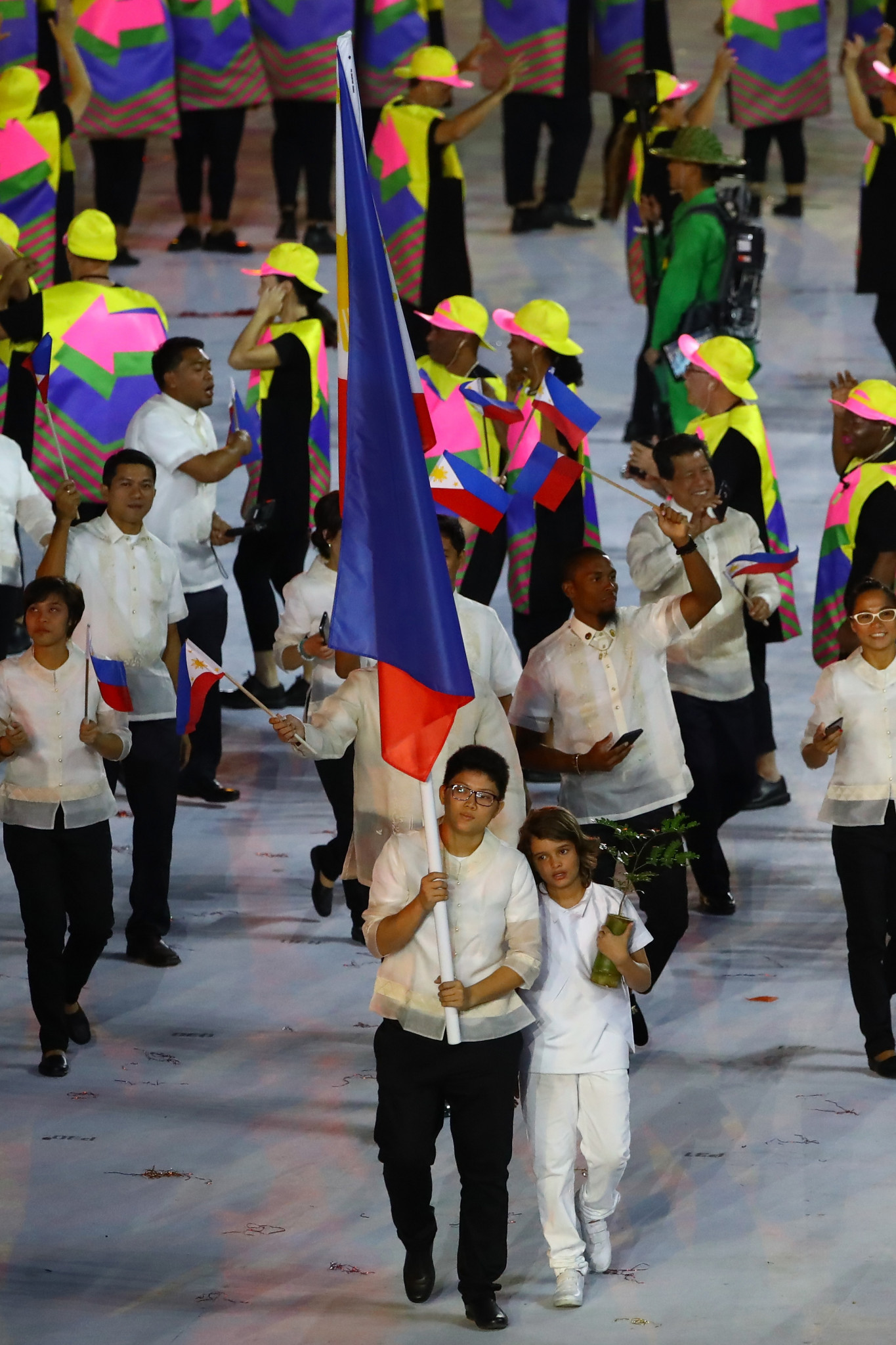 Athletes from The Philippines march at the Opening Ceremony of Rio 2016 ©Getty Images
