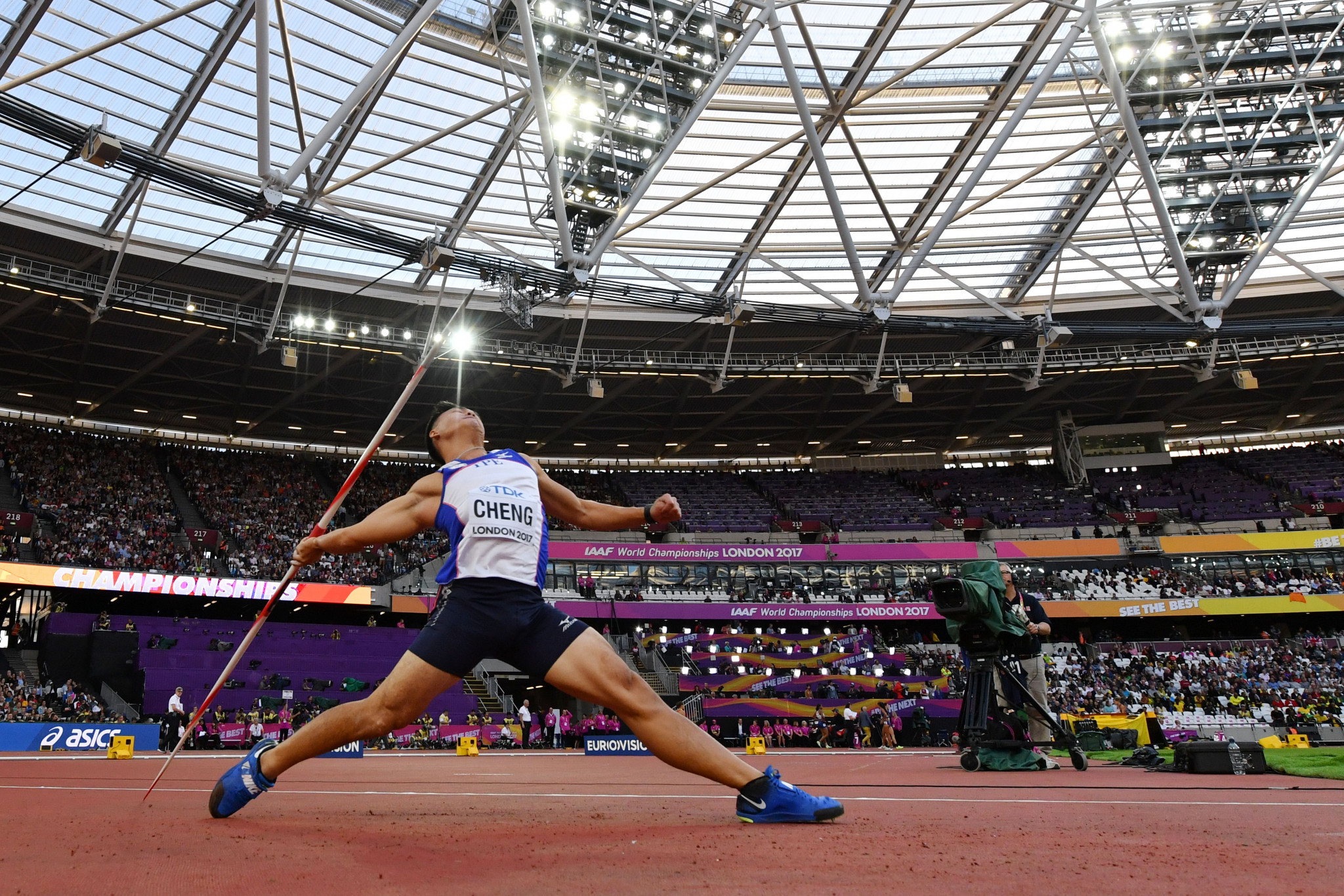 Taiwan's Cheng Chao-Tsun competes in the men's javelin at the 2017 IAAF World Championships in London in August 2017 ©Getty Images