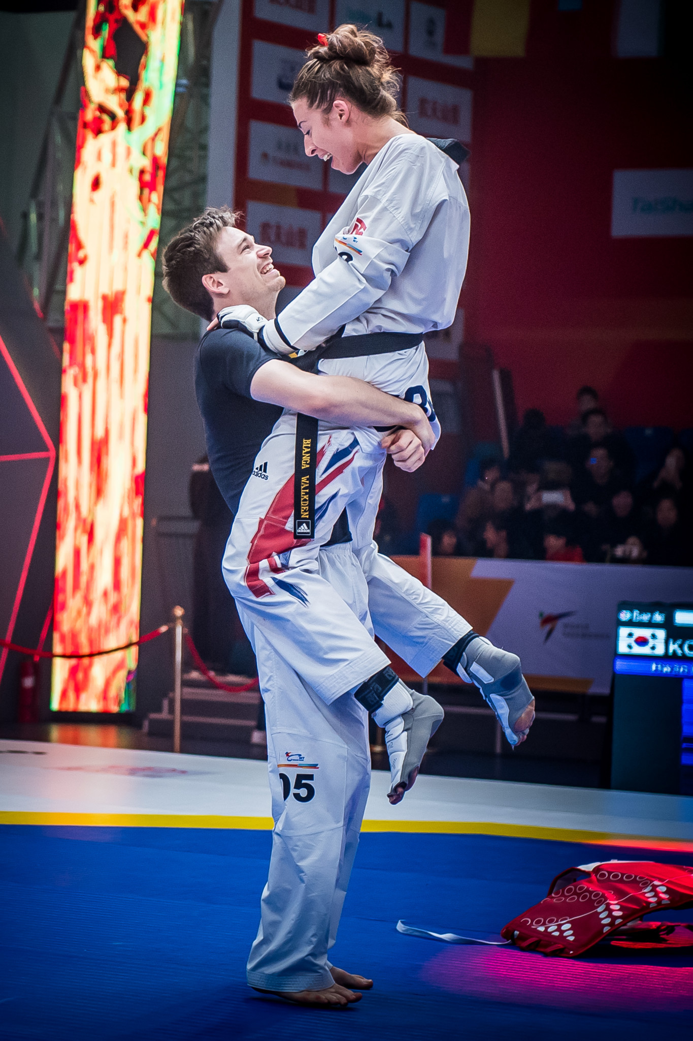 The 26-year-old celebrated with long-term boyfriend Aaron Cook, who fought for Moldova in the men's under 80kg category today ©World Taekwondo
