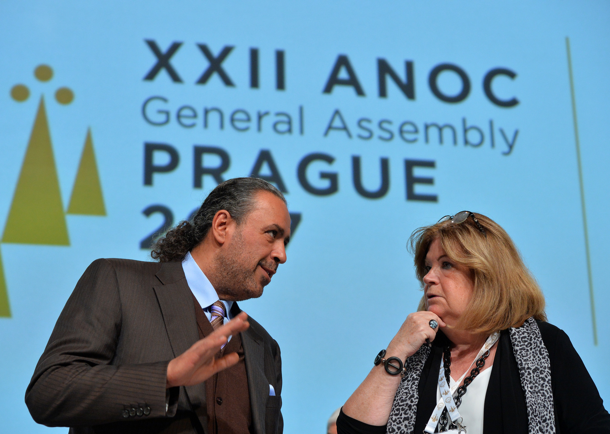 Sheikh Ahmad, left, pictured with ANOC secretary general Gunilla Lindberg, praised the success of the ANOC General Assembly in Prague ©Getty Images