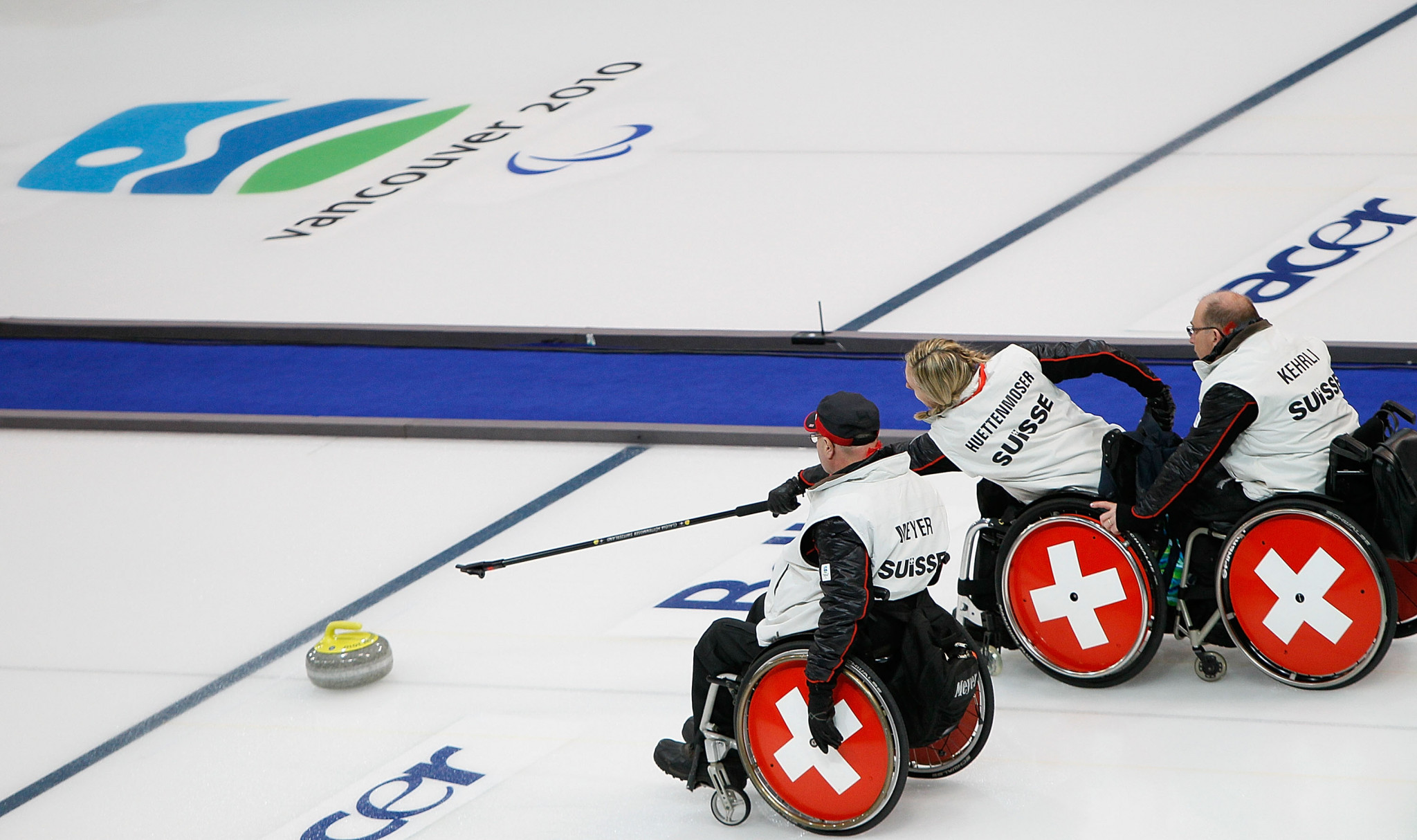The Swiss wheelchair curling team appeared at the Vancouver 2010 Paralympics ©Getty Images