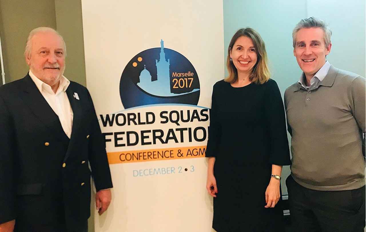 WSF President Jacques Fontaine, left, with the chair of Weber Shandwick's global Olympic and sport affairs, Svetlana Picou, centre, and PSA chief executive Alex Gough, right, during last month's WSF Annual General Meeting and Conference in Marseille ©PSA