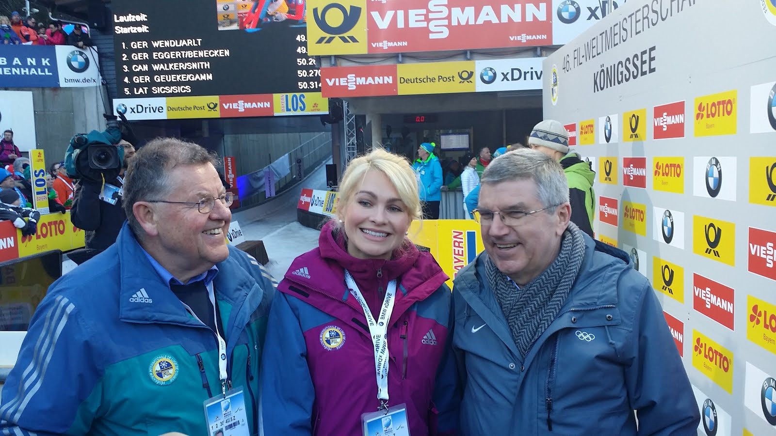 Natalia Gart, centre, head of the Russian Luge Federation, pictured with IOC President Thomas Bach, revealed Tatyana Ivanova and Albert Demchenko could appeal to CAS after FIL refused to sanction them ©IOC