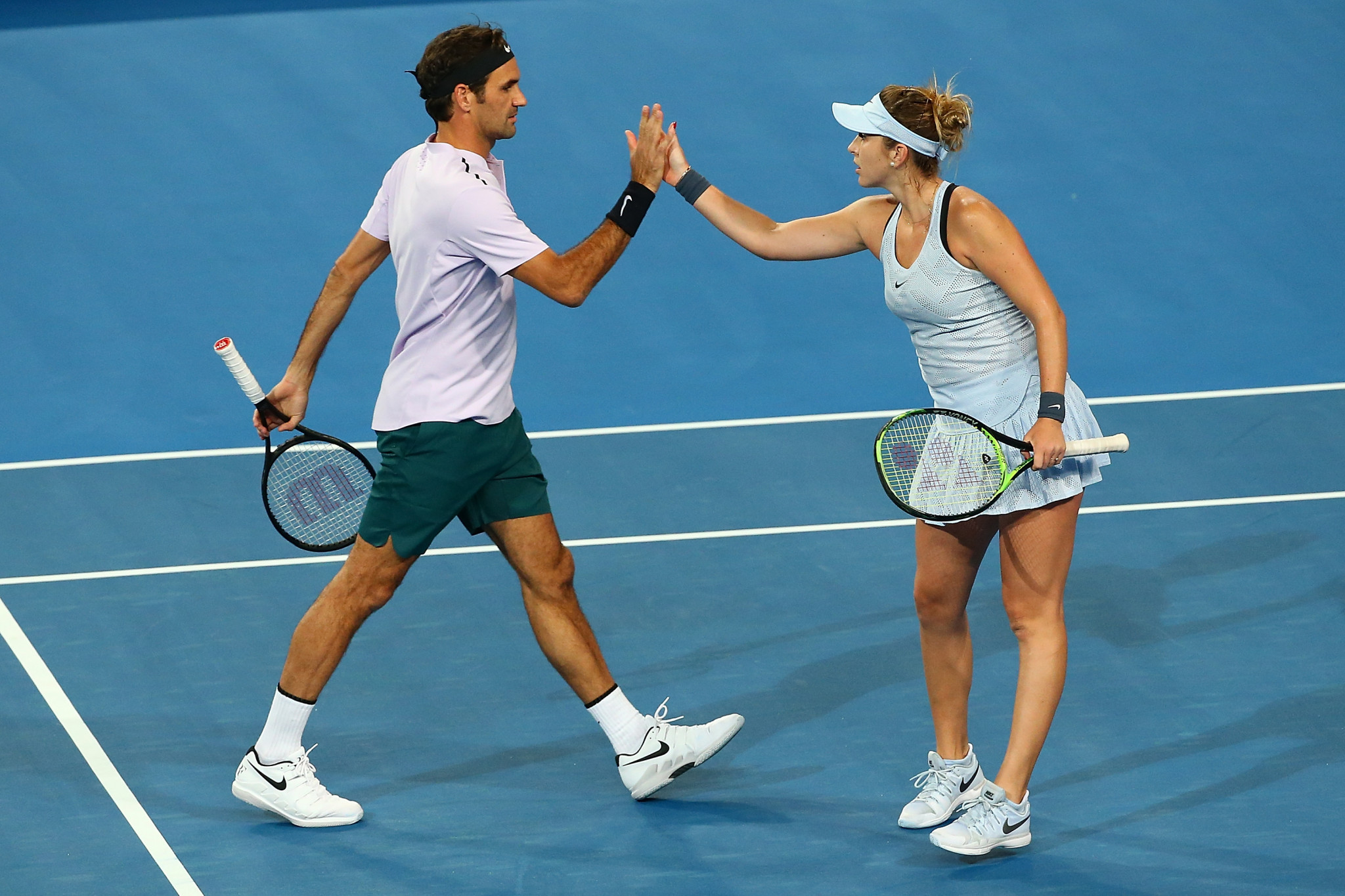 Roger Federer and Belinda Bencic have qualified for the final of the Hopman Cup after three victories today ©Getty Images