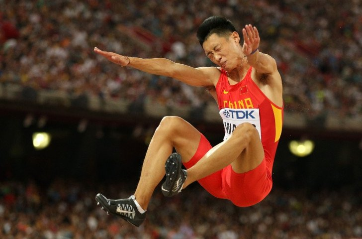 China's Jianan Wang secures a historic medal for his country in the long jump final ©Getty Images