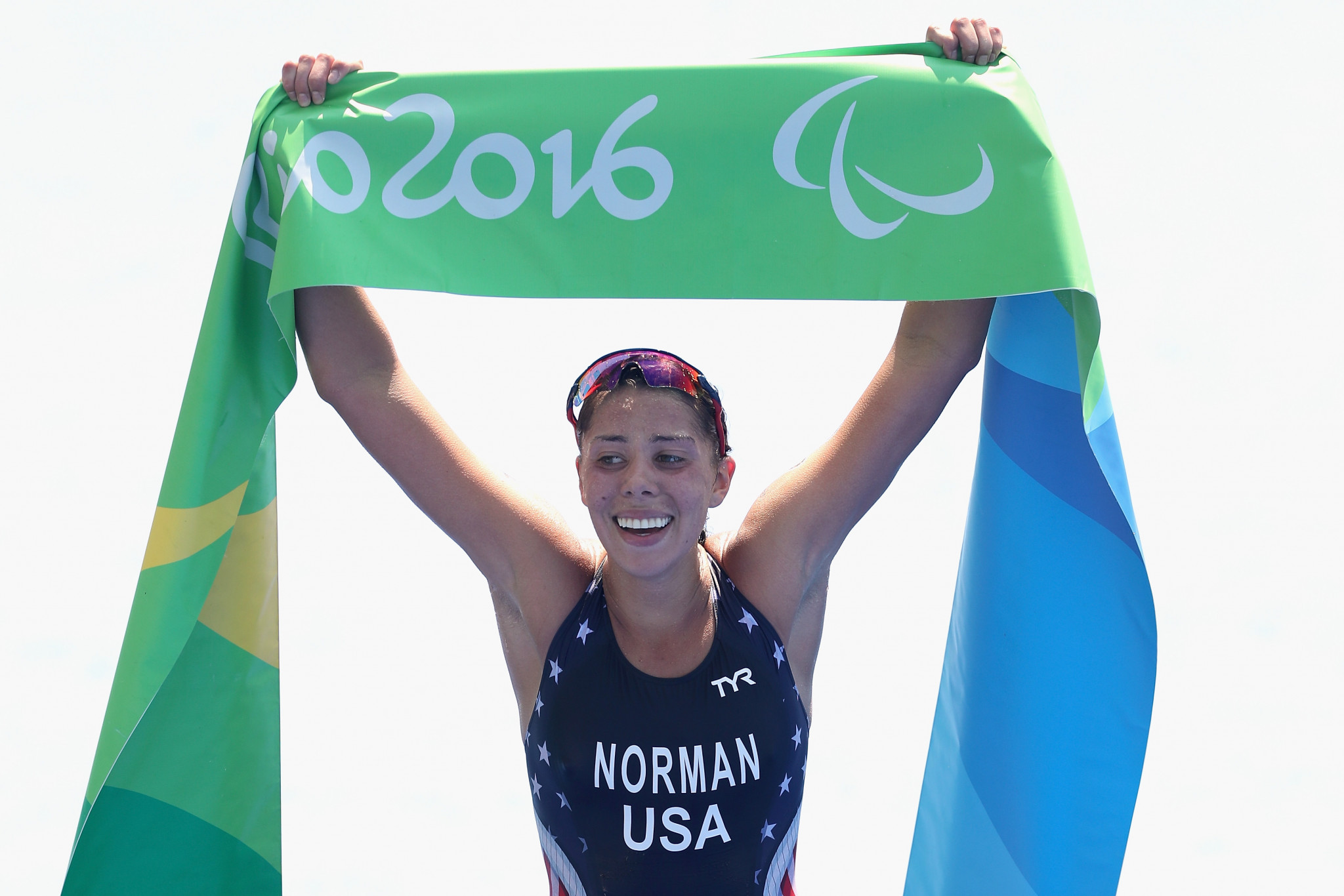 Grace Norman, of the United States, wins the women's triathlon PT4 at Fort Copacabana at the Rio 2016 Paralympic Games ©Getty Images