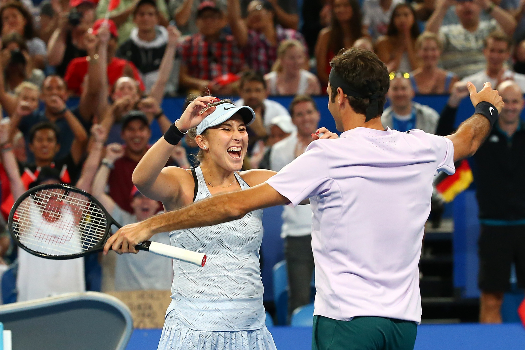 Bencic and Federer beat Zverev and Kerber 4-3, 4-2 in the Fast4 mixed doubles final to clinch the trophy ©Getty Images