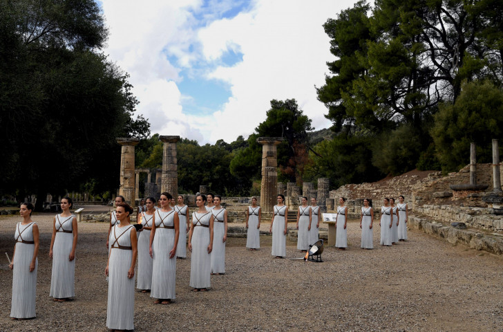 Actresses perform at the Temple of Hera in Olympia on October 24, 2017 during the lighting ceremony of the Olympic flame for the 2018 Winter Olympics in Pyeongchang. During the Ancient Games, the Olympic truce was largely honoured ©Getty Images