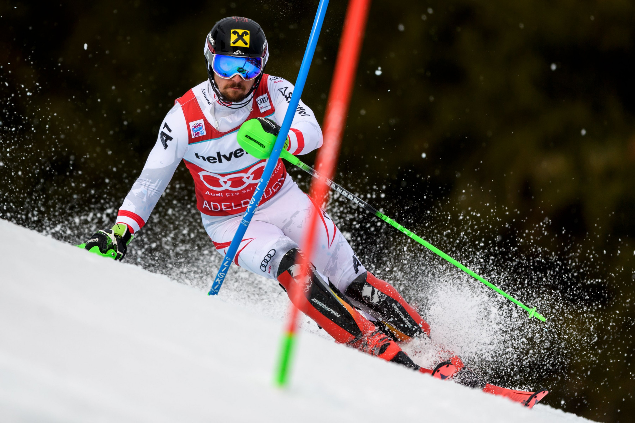 Marcel Hirscher won the men's slalom event at the World Cup leg ©Getty Images