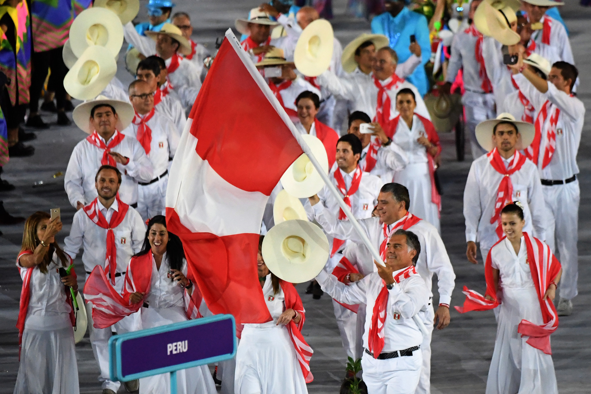 Francisco Boza Dibós pictured carrying the Peruvian flag at the Opening Ceremony of Rio 2016 ©Getty Images