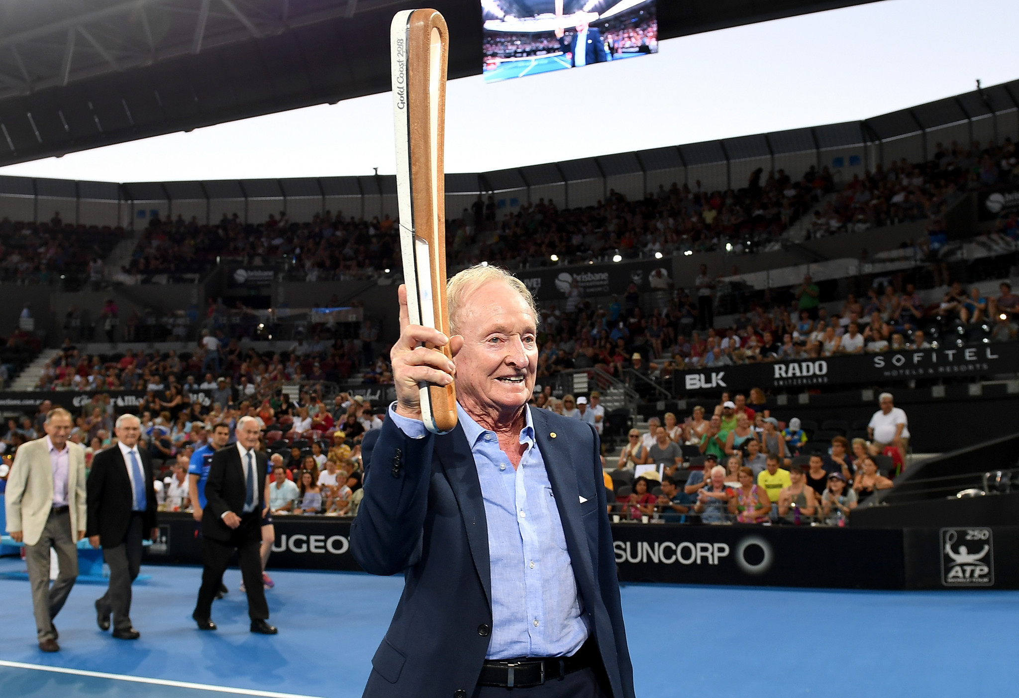 Laver among Australian tennis legends to hold Gold Coast 2018 Queen's Baton at Brisbane International