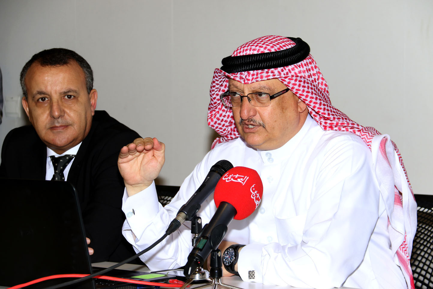 Bahrain Olympic Committee general secretary Abdulrahman Askar addresses a meeting on the Baby Games ©BOC
