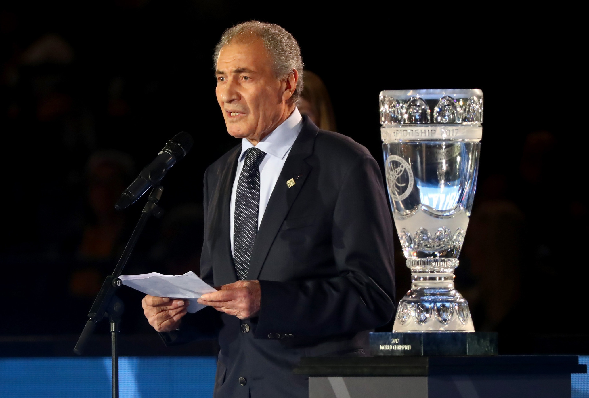 Hassan Moustafa was re-elected unopposed as President of the International Handball Federation in November, but controversy surrounded the vote ©Getty Images