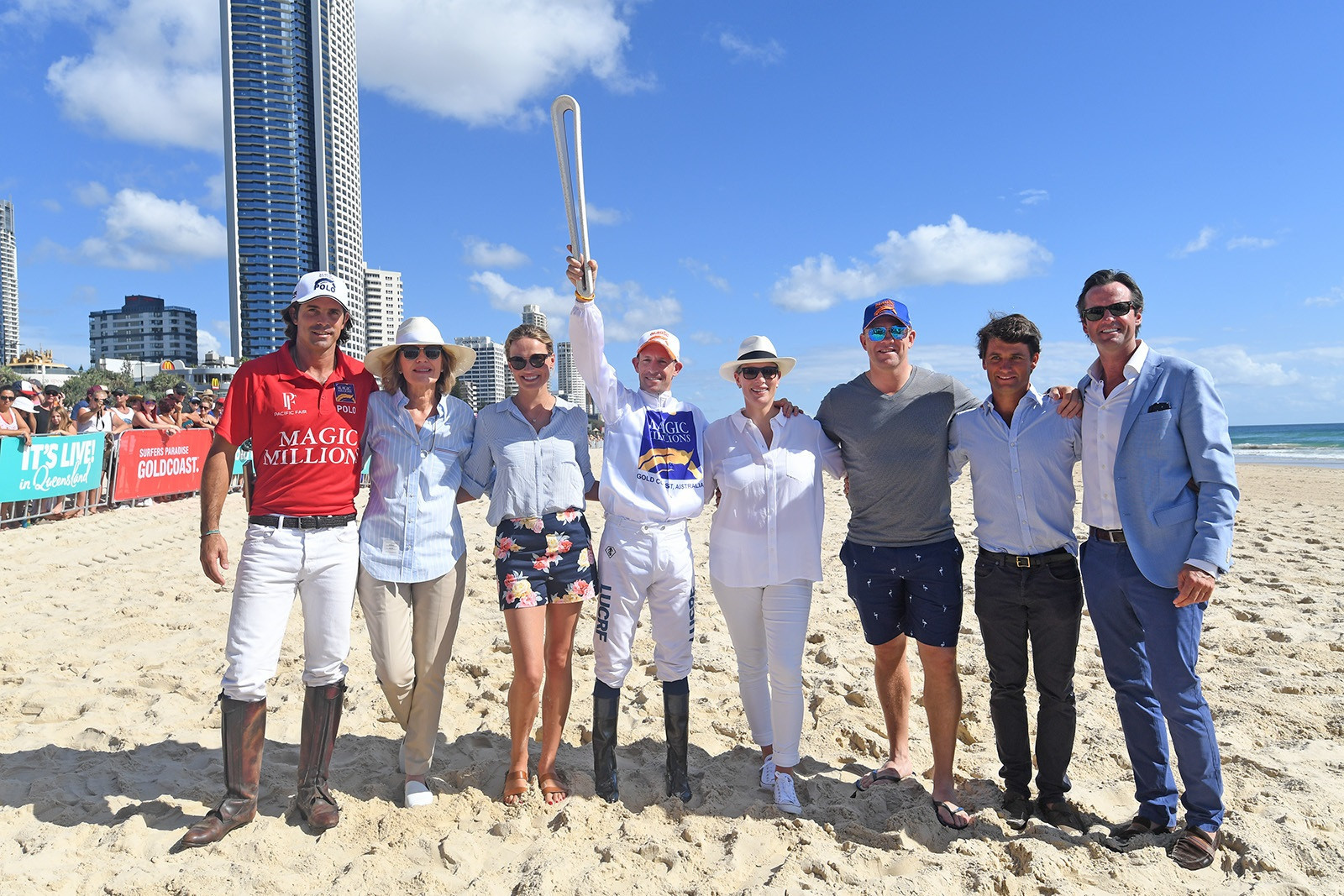 Hugh Bowman was joined by Zara Phillips and fellow Magic Millions Barrier Draw ambassadors ©Gold Coast 2018