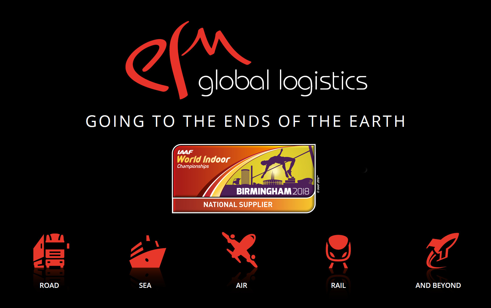 EFM Global Logistics unveiled as national supplier for 2018 IAAF World Indoor Championships in Birmingham
