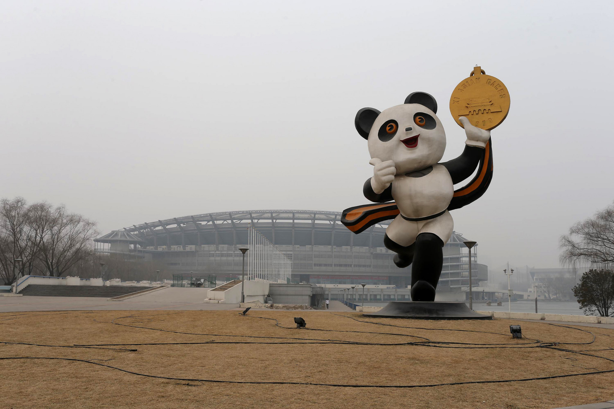 This picture, taken in 2014, shows a statue of the mascot of the 1990 Asian Games, PanPan the Panda, in Beijing ©Getty Images