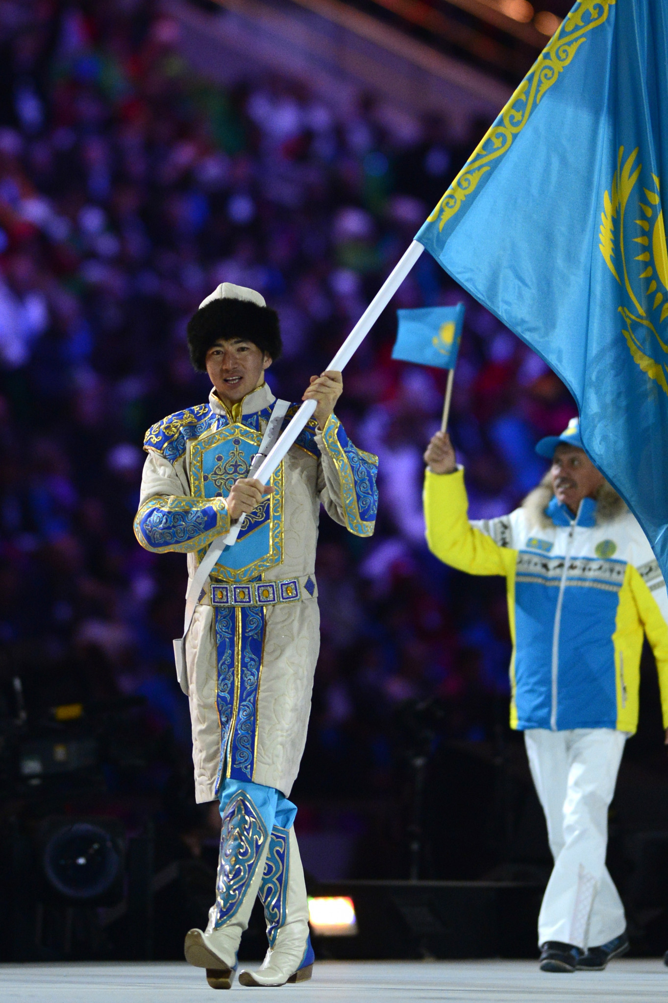 Cross-country skier Yerdos Akhmadiyev carried the Kazakh flag at the Sochi 2014 Opening Ceremony ©Getty Images