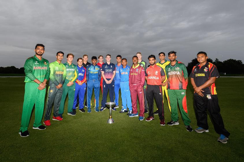 The captains line up ahead of the start of the ICC Under 19 Cricket World Cup in New Zealand
