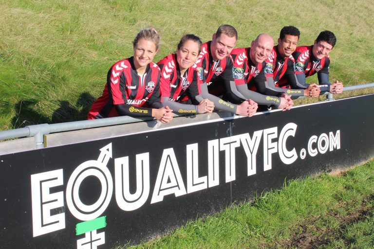 Equality FC is the brainchild of Lewes FC who are the first pro or semi-pro club in the world to pay its women's team the same as its men's team.Left to Right: Claire Johnson, Tash Wells, Adam Wolecki, women's first team asstistant manager, Darren Freeman, men's first team manager, Jonté Smith, Frankie Chappell ©LewesFC