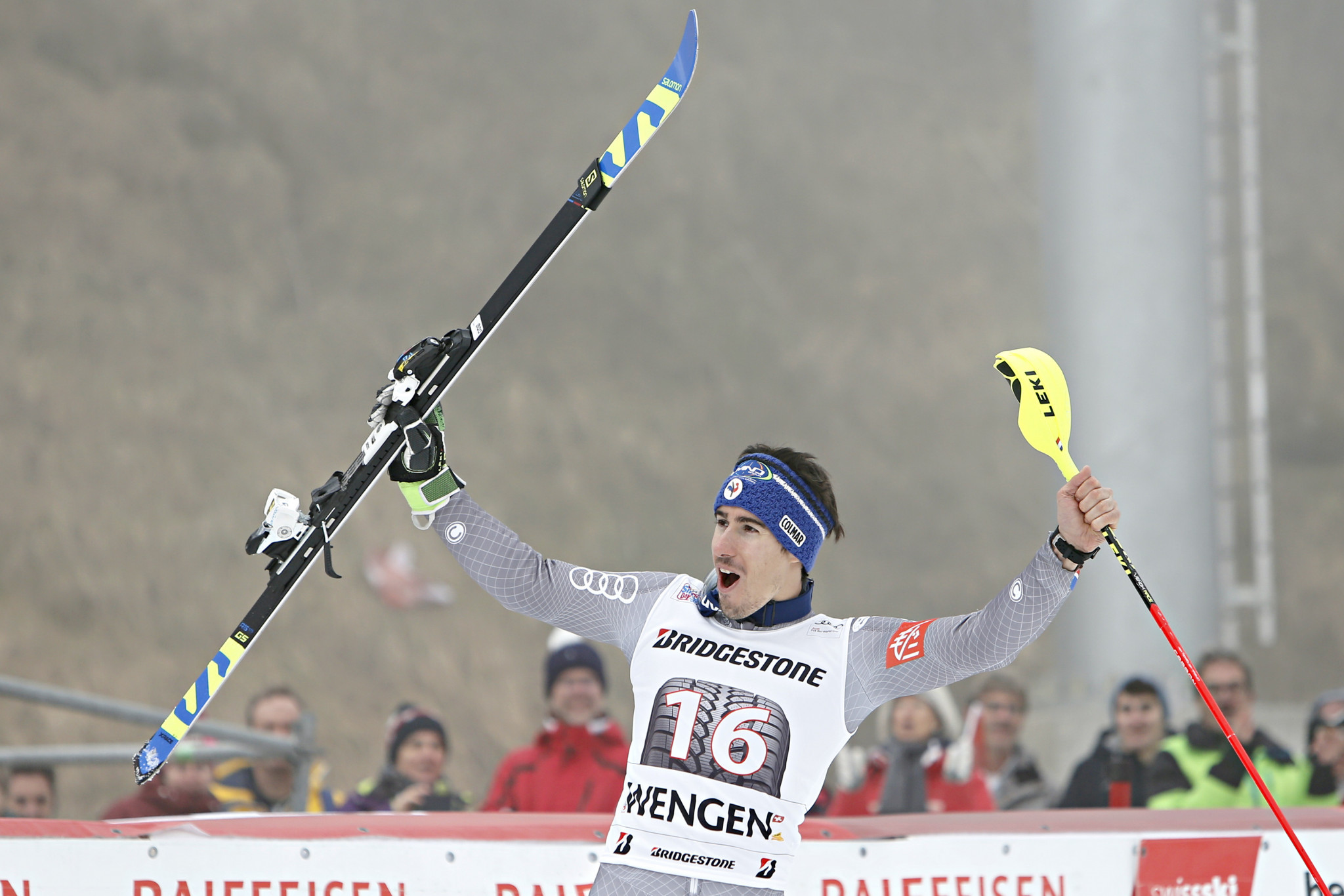 Victor Muffat-Jeandet won his first-ever World Cup title in the alpine combined event in Switzerland ©Getty Images