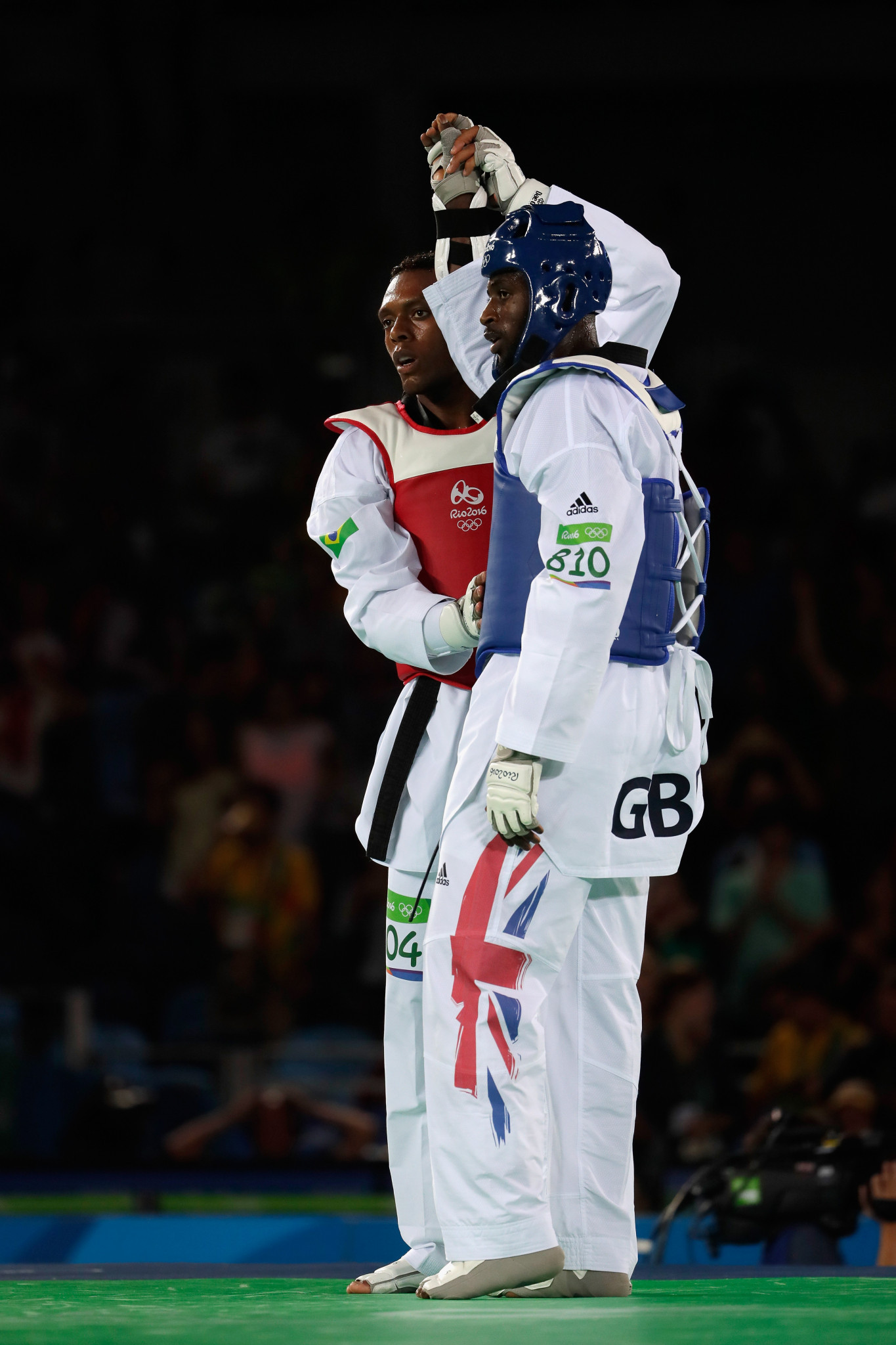 Mahama Cho, of Great Britain, seen here being consoled by Maicon Siqueira of Brazil after the Men's +80kg Bronze Medal contest in the Rio 2016 Olympic Games ©Getty Images