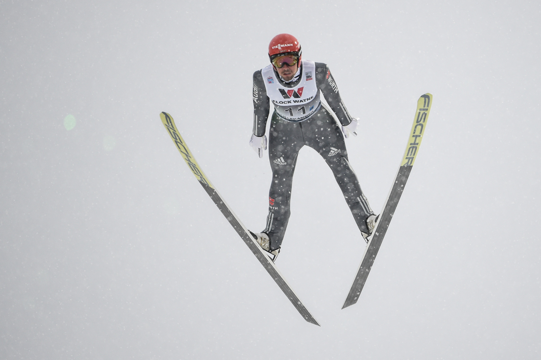 Germany's Johannes Rydzek finished second as he continues his attempt to usurp overall leader Jan Schmid of Norway ©Getty Images