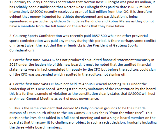 A letter from the three sacked officials includes allegations of conflicts of interest and racism ©ITG