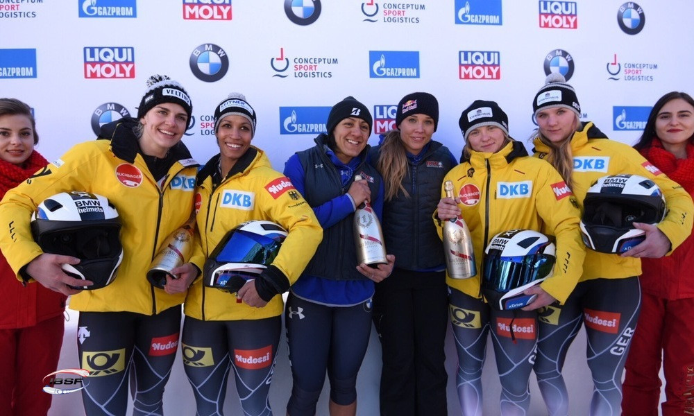 Elana Meyers Taylor of the United States secured her first two-woman win of the season alongside Lolo Jones ©IBSF