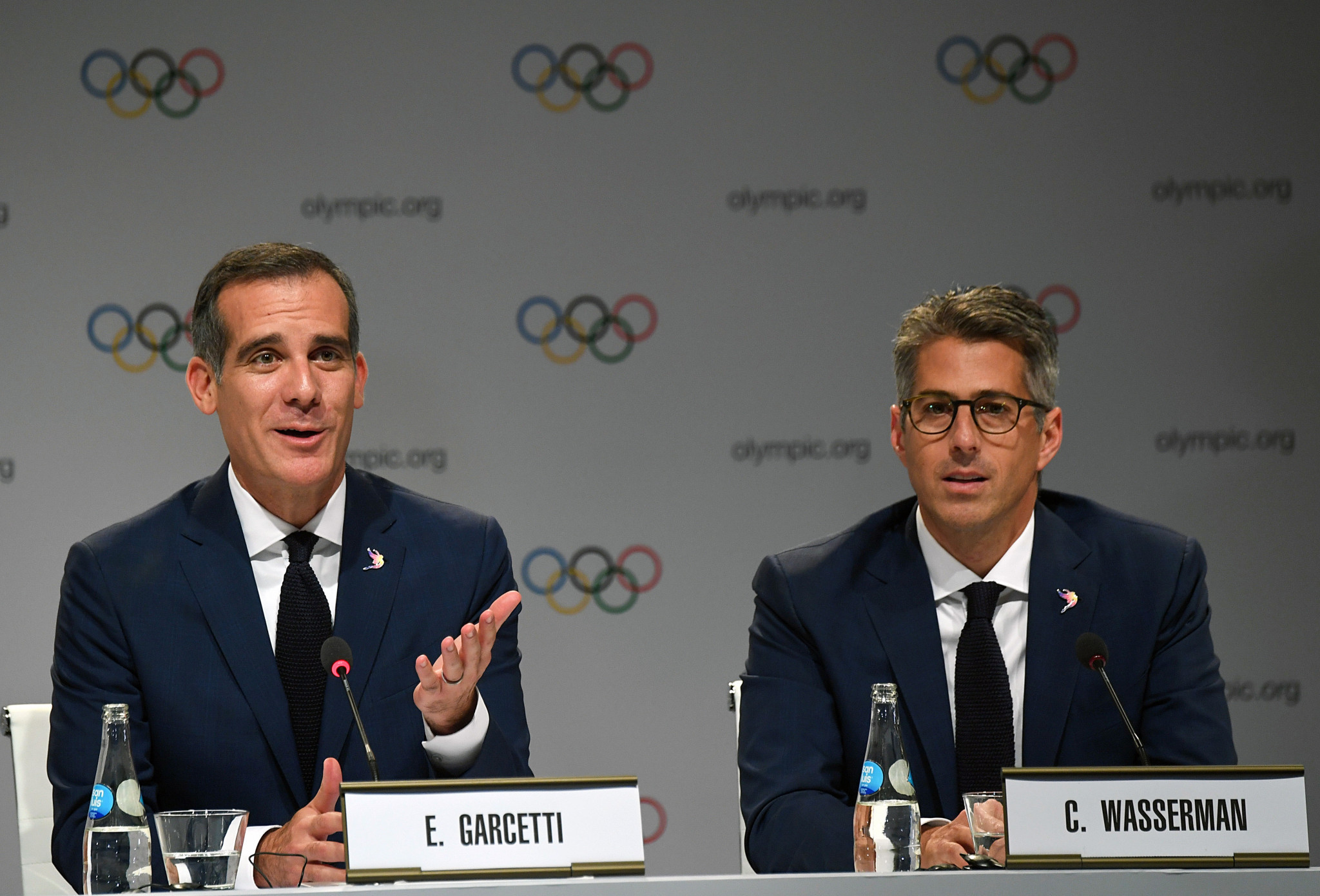 Casey Wasserman helped secure Los Angeles the 2028 Olympic Games alongside the city's Mayor Eric Garcetti ©Getty Images