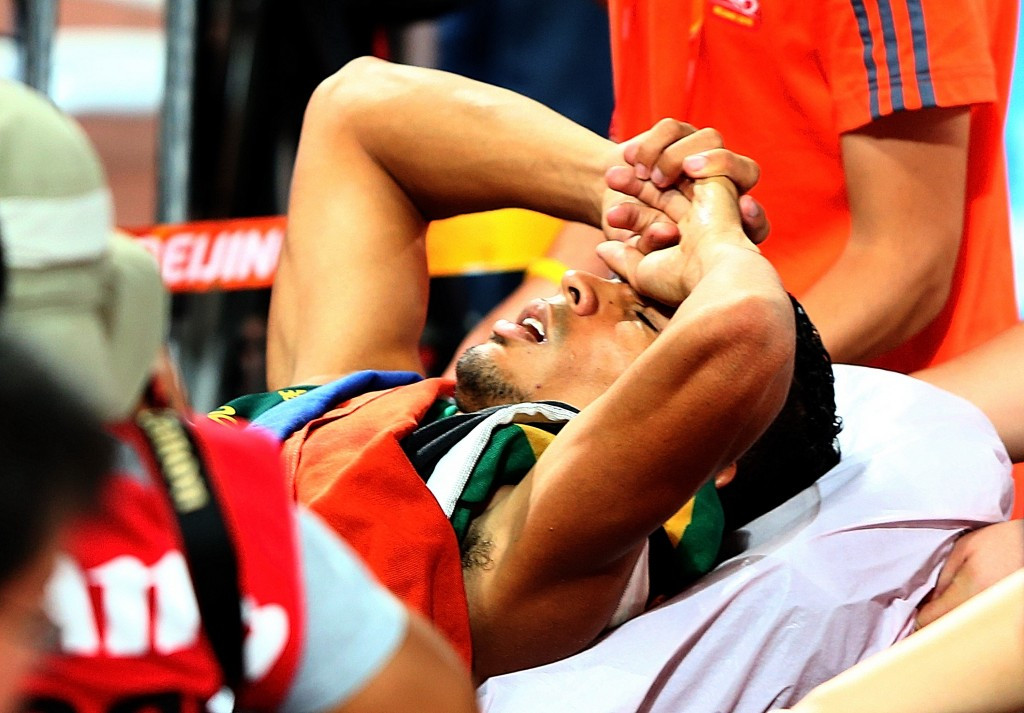 South Africa's Wayde Van Niekerk was taken to hospital as a precuation after winning the world 400m title ©Getty Images