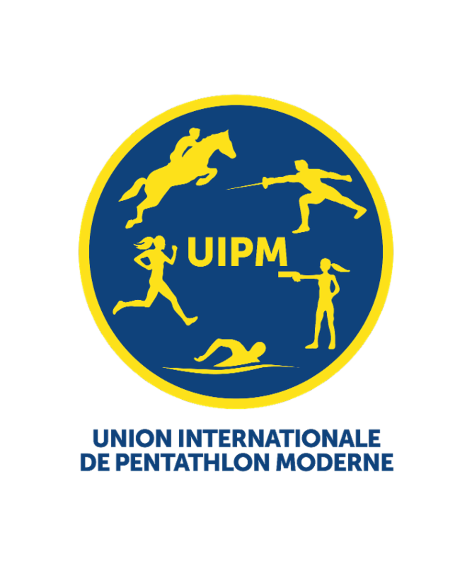 The institutional logo features two female pictograms among modern pentathlon's five disciplines ©UIPM
