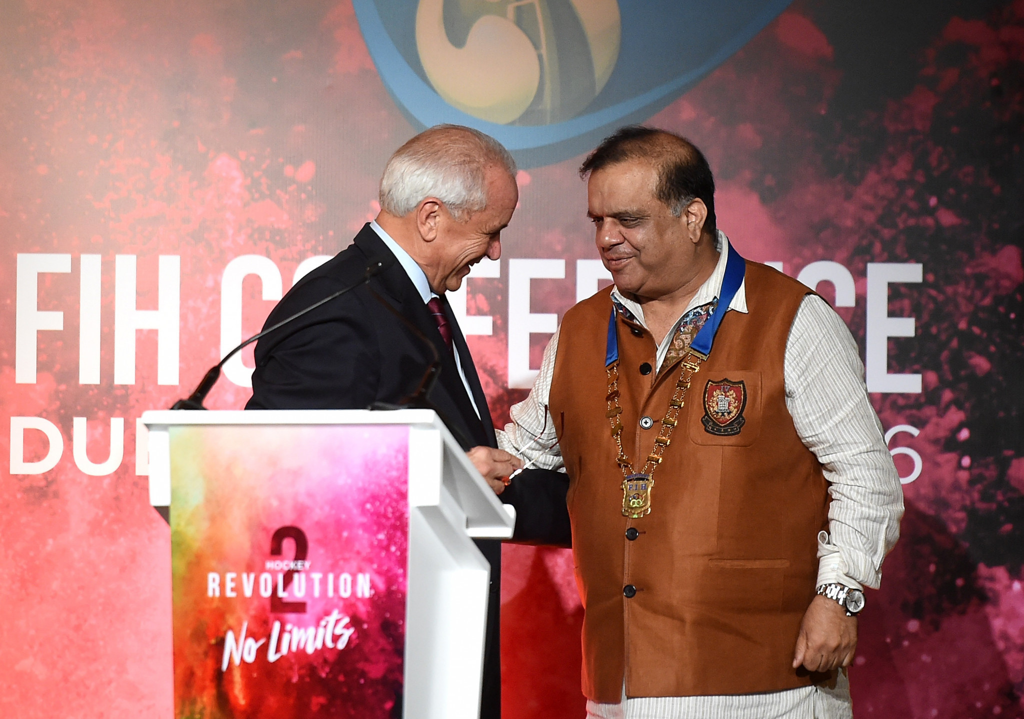 Narinder Batra was elected FIH President to succeed Leandro Negre, left, in November 2016 ©Getty Images