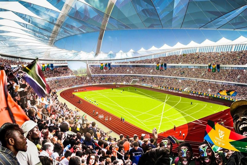 Durban's proposed venues for the 2022 Commonwealth Games, including athletics at the Moses Mabhida Stadium, were praised by the CGF Evaluation Commission