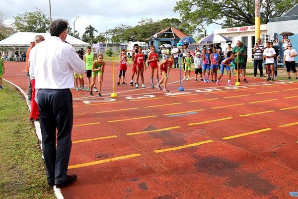 IAAF President Sebastian Coe, foreground, has pledged $500,000 to help repair the damage caused by the hurricanes ©Hector Martinez