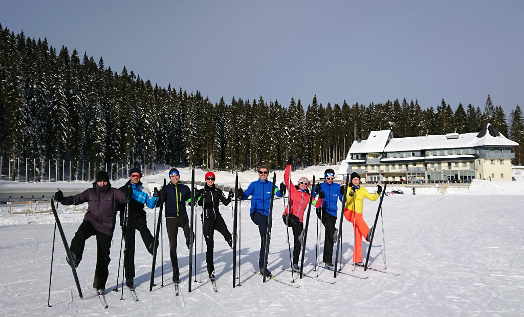 The team-building exercises included a hike to Uskovnica mountain, while the delegation also took part in cross-country skiing and biathlon ©EUSA