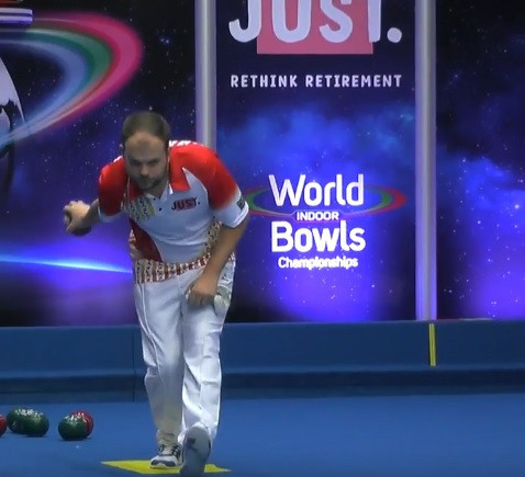 Jamie Chestney recorded his second victory in two days at the World Indoor Bowls Championships in Norfolk ©YouTube