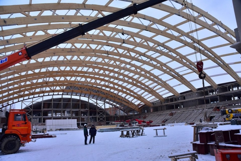 Work has restarted on the construction of Krasnoyarsk 2019 venues following a break for the New Year holidays ©Kraysport