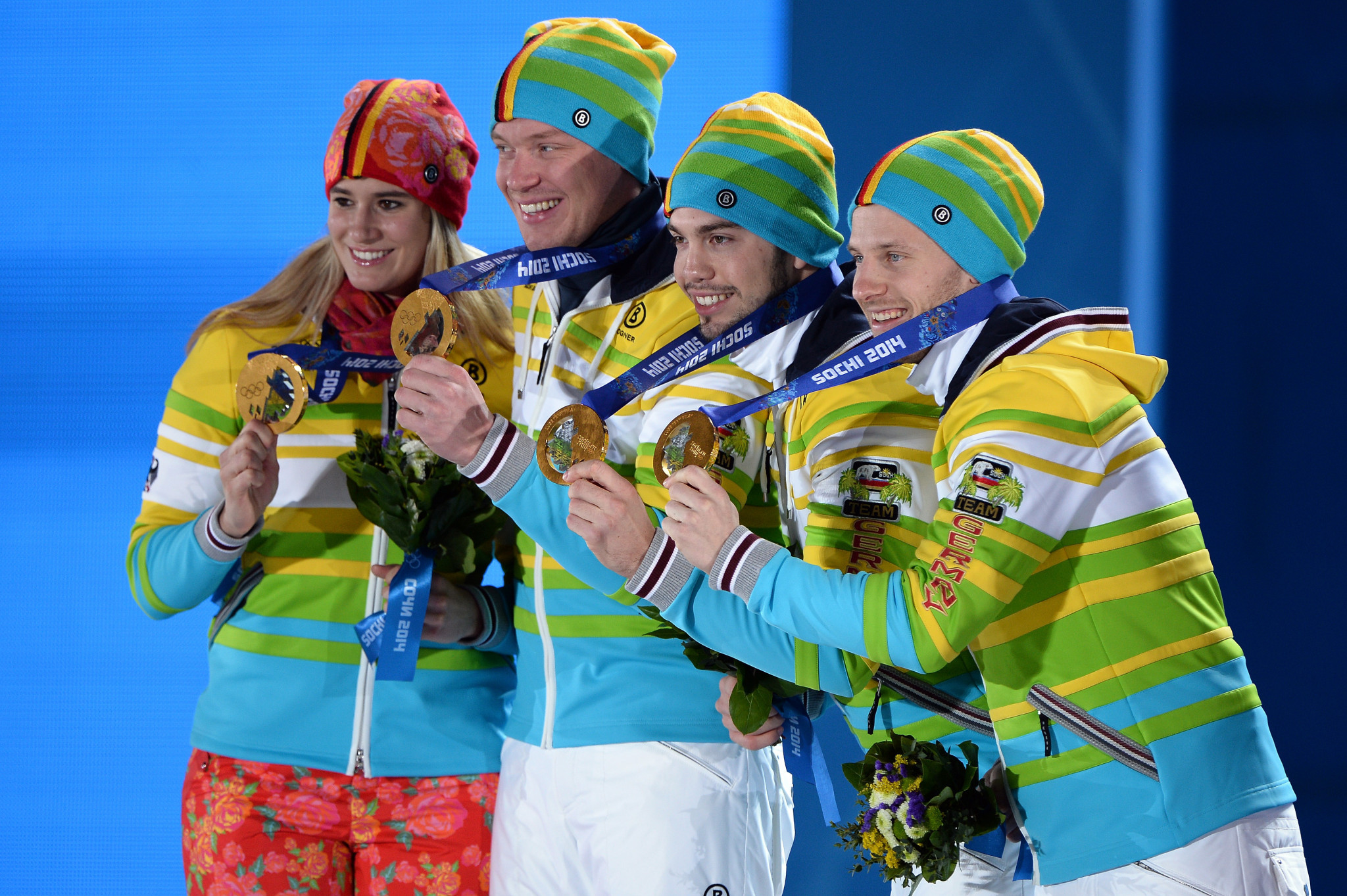 Natalie Geisenberger, Felix Loch, Tobias Wendl, and Tobias Arlt, left to right, have all been selected for Pyeongchang 2018 ©Getty Images