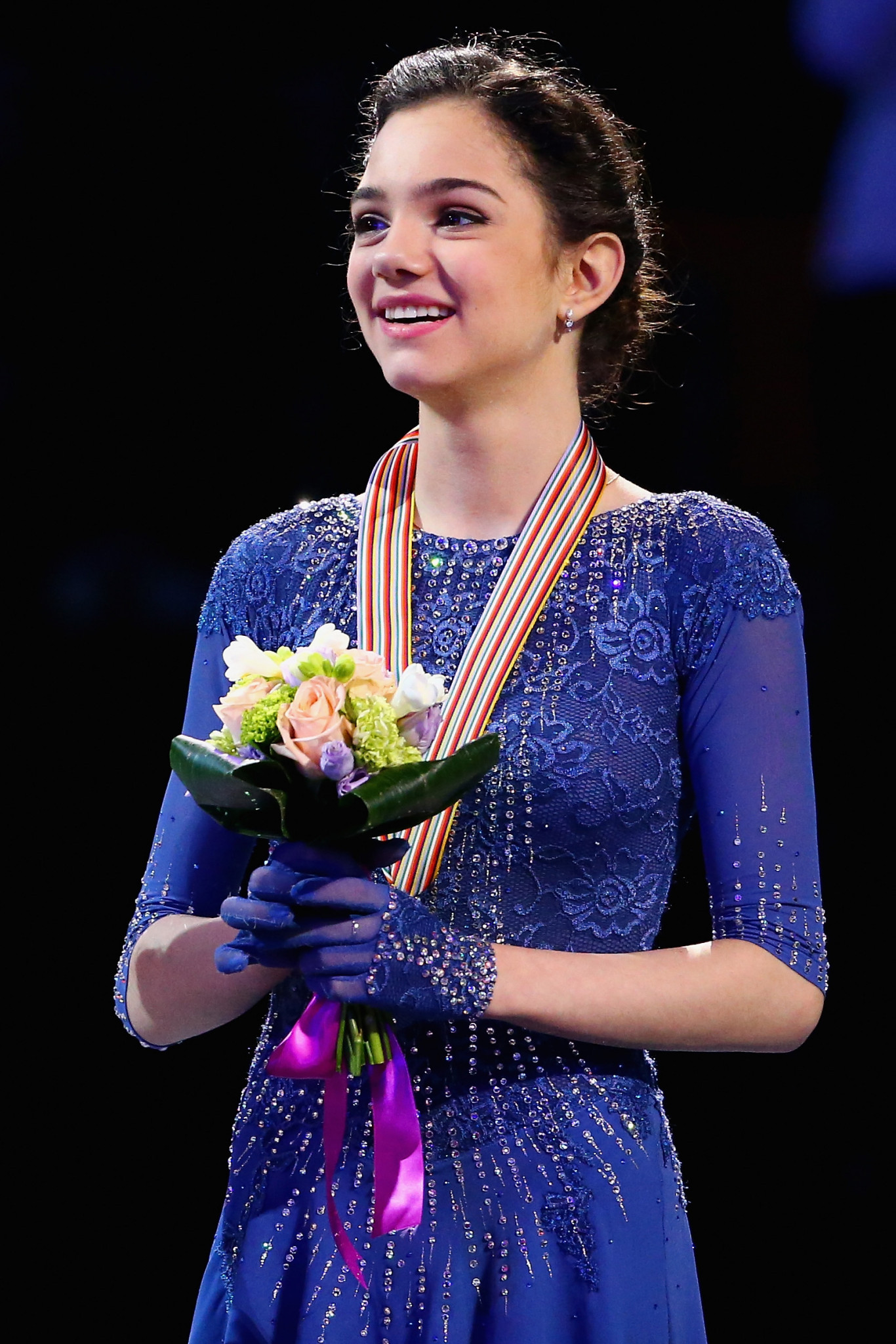 Russia's Evgenia Medvedeva, seen here after claiming the 2016 European Championship title, could finish only second on her comeback from injury in Moscow ©Getty Images