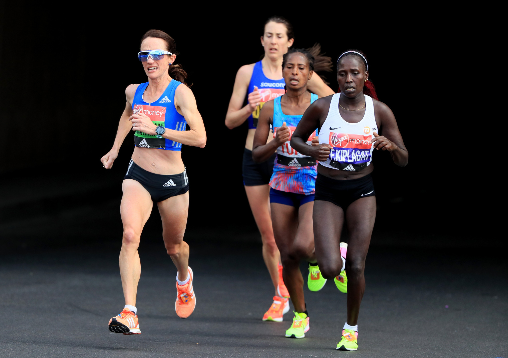 Lisa Weightman, left, recorded a personal best marathon time at last year's London Marathon ©Getty Images